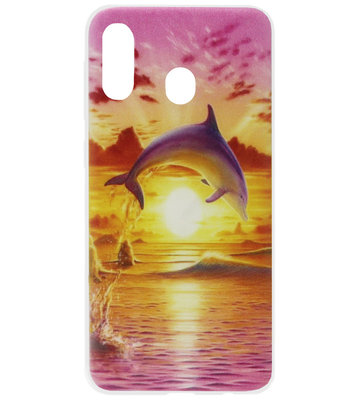 ADEL Siliconen Back Cover Softcase Hoesje voor Samsung Galaxy A40 - Dolfijn Roze