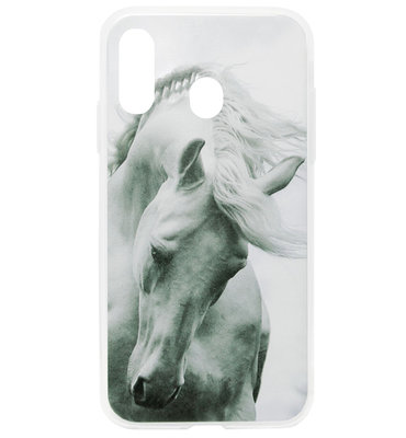 ADEL Siliconen Back Cover Softcase Hoesje voor Samsung Galaxy A40 - Paarden Wit