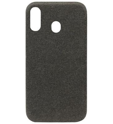 ADEL Kunststof Back Cover Hardcase Hoesje voor Samsung Galaxy A40 - Stoffen Design Zwart
