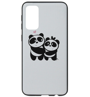 ADEL Siliconen Back Cover Softcase Hoesje voor Samsung Galaxy S20 - Panda Familie