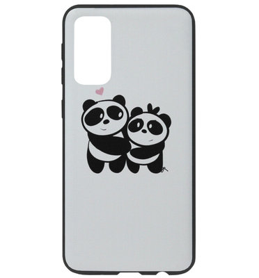 ADEL Siliconen Back Cover Softcase Hoesje voor Samsung Galaxy S20 Plus - Panda Familie
