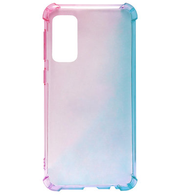 ADEL Siliconen Back Cover Softcase Hoesje voor Samsung Galaxy S20 Ultra - Kleurovergang Roze Blauw