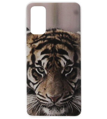 ADEL Siliconen Back Cover Softcase Hoesje voor Samsung Galaxy S20 Ultra - Tijger