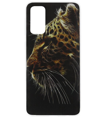 ADEL Siliconen Back Cover Softcase Hoesje voor Samsung Galaxy S20 Ultra - Tijger Donker