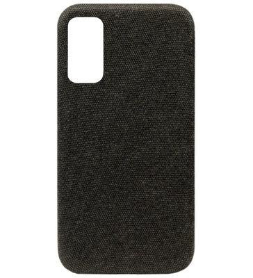 ADEL Kunststof Back Cover Hardcase Hoesje voor Samsung Galaxy S20 Plus - Stoffen Design Zwart