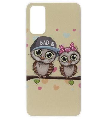 ADEL Siliconen Back Cover Softcase Hoesje voor Samsung Galaxy S20 Plus - Uilen Familie