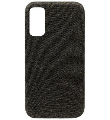 ADEL Kunststof Back Cover Hardcase Hoesje voor Samsung Galaxy S20 Ultra - Stoffen Design Zwart