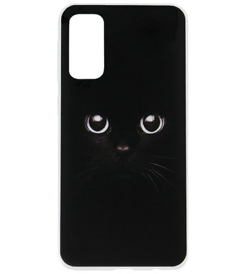 ADEL Siliconen Back Cover Softcase Hoesje voor Samsung Galaxy S20 Plus - Katten Zwart