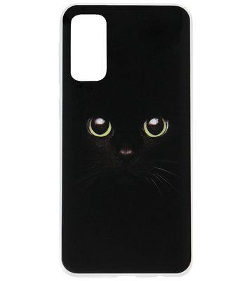 ADEL Siliconen Back Cover Softcase Hoesje voor Samsung Galaxy S20 Plus - Katten Groene Ogen