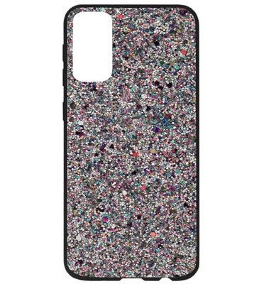 ADEL Kunststof Back Cover Hardcase Hoesje voor Samsung Galaxy S20 Ultra - Bling Bling Glitter Zilver
