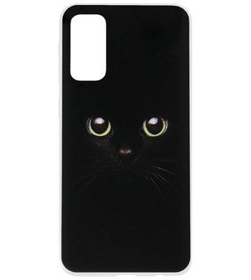 ADEL Siliconen Back Cover Softcase Hoesje voor Samsung Galaxy S20 Ultra - Katten Groene Ogen