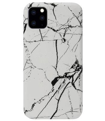 ADEL Kunststof Back Cover Hardcase Hoesje voor iPhone 11 Pro - Marmer Wit