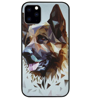 ADEL Siliconen Back Cover Softcase Hoesje voor iPhone 11 Pro Max - Duitse Herder Hond