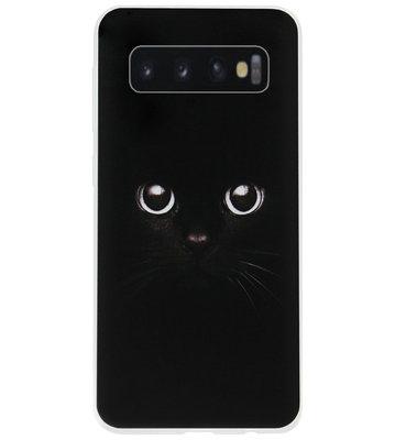 ADEL Siliconen Back Cover Softcase Hoesje voor Samsung Galaxy S10 - Katten Zwart
