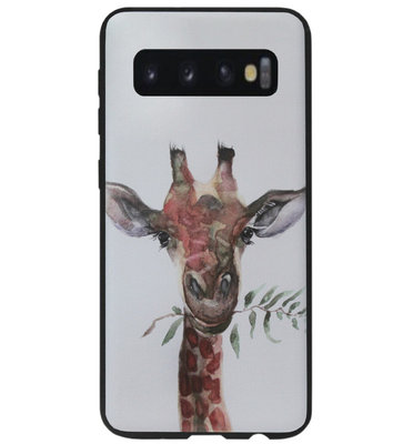 ADEL Siliconen Back Cover Softcase Hoesje voor Samsung Galaxy S10 - Giraf