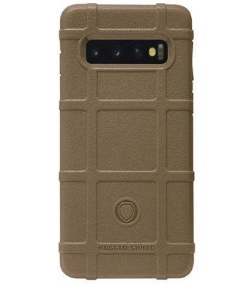RUGGED SHIELD Rubber Bumper Case Hoesje voor Samsung Galaxy S10e - Bruin