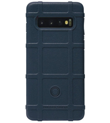 RUGGED SHIELD Rubber Bumper Case Hoesje voor Samsung Galaxy S10e - Blauw