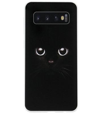 ADEL Siliconen Back Cover Softcase Hoesje voor Samsung Galaxy S10e - Katten Zwart