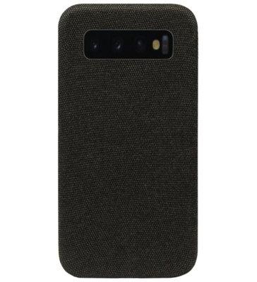 ADEL Kunststof Back Cover Hardcase Hoesje voor Samsung Galaxy S10e - Stoffen Design Zwart