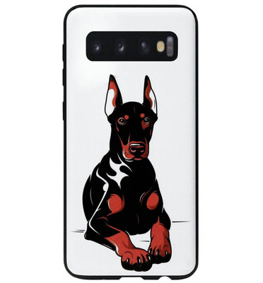 ADEL Siliconen Back Cover Softcase Hoesje voor Samsung Galaxy S10e - Dobermann Pinscher Hond