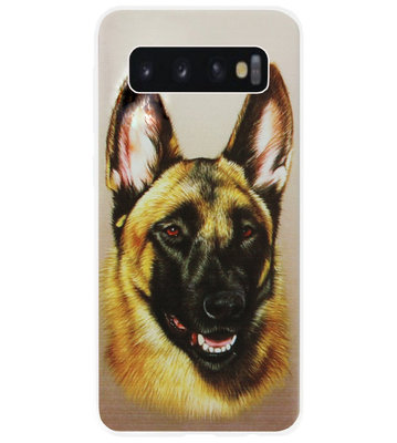 ADEL Siliconen Back Cover Softcase Hoesje voor Samsung Galaxy S10 Plus - Duitse Herder Hond