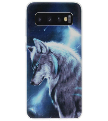 ADEL Siliconen Back Cover Softcase Hoesje voor Samsung Galaxy S10 Plus - Wolf Blauw