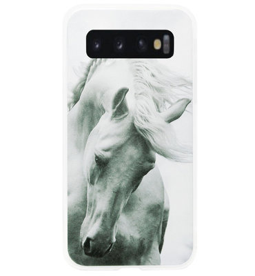 ADEL Siliconen Back Cover Softcase Hoesje voor Samsung Galaxy S10 Plus - Paard Wit