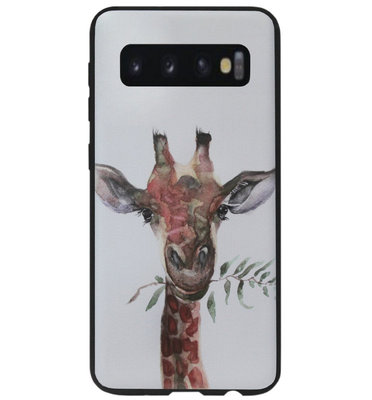 ADEL Siliconen Back Cover Softcase Hoesje voor Samsung Galaxy S10 Plus - Giraf
