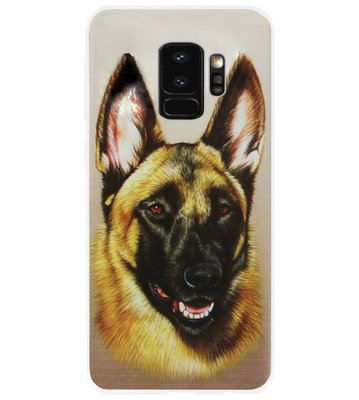 ADEL Siliconen Back Cover Softcase Hoesje voor Samsung Galaxy S9 - Duitse Herder Hond