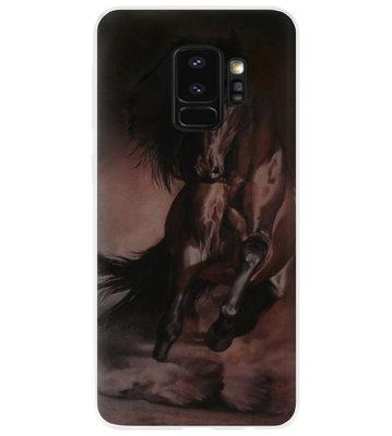 ADEL Siliconen Back Cover Softcase Hoesje voor Samsung Galaxy S9 - Paarden Zwart