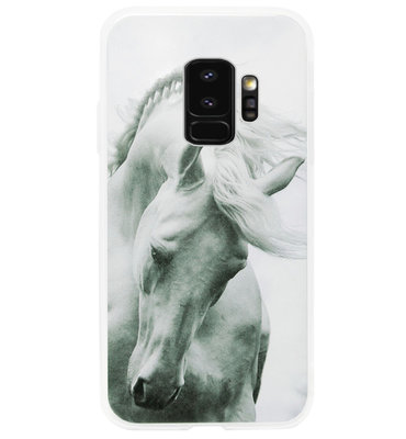 ADEL Siliconen Back Cover Softcase Hoesje voor Samsung Galaxy S9 - Paard Wit