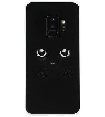 ADEL Siliconen Back Cover Softcase Hoesje voor Samsung Galaxy S9 Plus - Katten Zwart