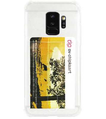 ADEL Siliconen Back Cover Softcase Hoesje voor Samsung Galaxy S9 Plus - Pasjeshouder Doorzichtig