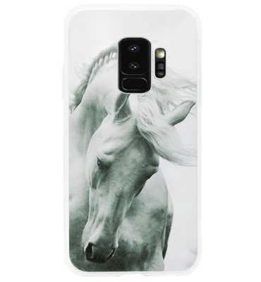 ADEL Siliconen Back Cover Softcase Hoesje voor Samsung Galaxy S9 Plus - Paard Wit