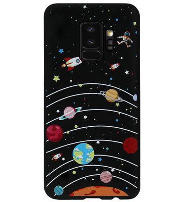 ADEL Siliconen Back Cover Softcase Hoesje voor Samsung Galaxy S9 Plus - Heelal Ruimte Zwart