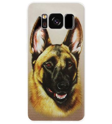 ADEL Siliconen Back Cover Softcase Hoesje voor Samsung Galaxy S8 Plus - Duitse Herder Hond