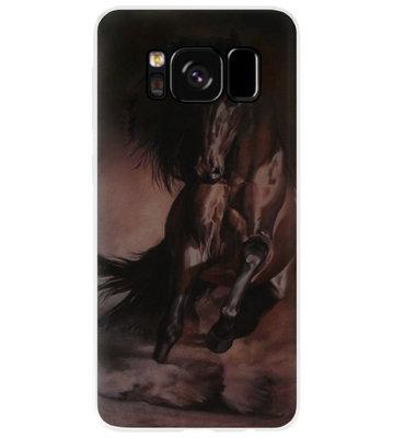 ADEL Siliconen Back Cover Softcase Hoesje voor Samsung Galaxy S8 Plus - Paarden Zwart