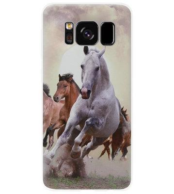 ADEL Siliconen Back Cover Softcase Hoesje voor Samsung Galaxy S8 Plus - Paarden Wit Bruin