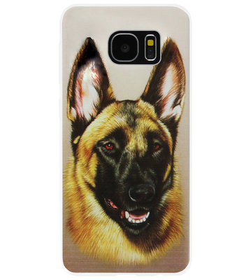 ADEL Siliconen Back Cover Softcase Hoesje voor Samsung Galaxy S7 Edge - Duitse Herder Hond