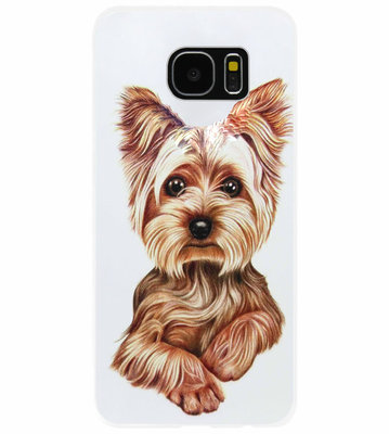 ADEL Siliconen Back Cover Softcase Hoesje voor Samsung Galaxy S7 Edge - Yorkshire Terrier Hond