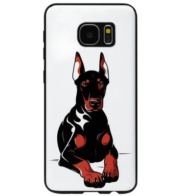 ADEL Siliconen Back Cover Softcase Hoesje voor Samsung Galaxy S7 Edge - Dobermann Pinscher Hond
