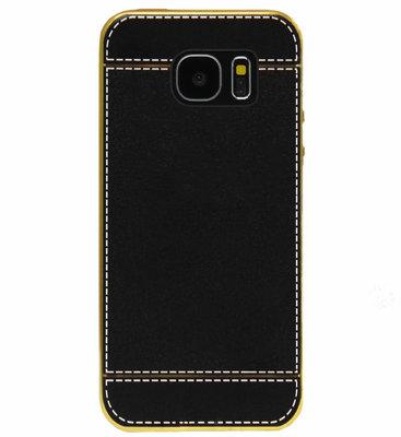 ADEL Kunstleren Back Cover  Hoesje voor Samsung Galaxy S7 Edge - Zwart
