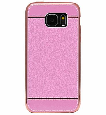 ADEL Kunstleren Back Cover  Hoesje voor Samsung Galaxy S7 Edge - Roze
