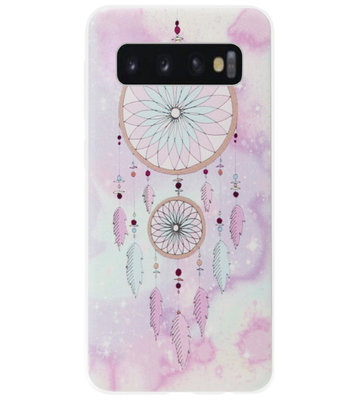 ADEL Siliconen Back Cover Softcase Hoesje voor Samsung Galaxy S10 Plus - Dromenvanger Roze