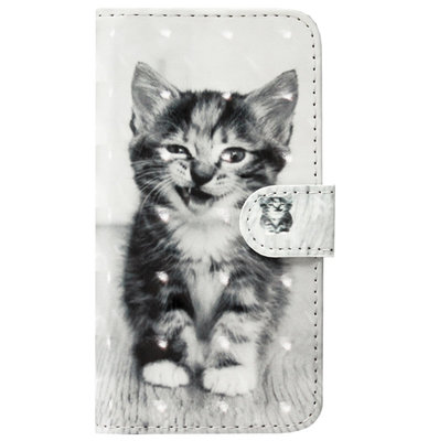 ADEL Kunstleren Book Case Pasjes Portemonnee Hoesje voor Samsung Galaxy S8 Plus - Kat