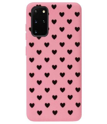 ADEL Siliconen Back Cover Softcase Hoesje voor Samsung Galaxy S20 Plus - Hartjes Roze Zwart