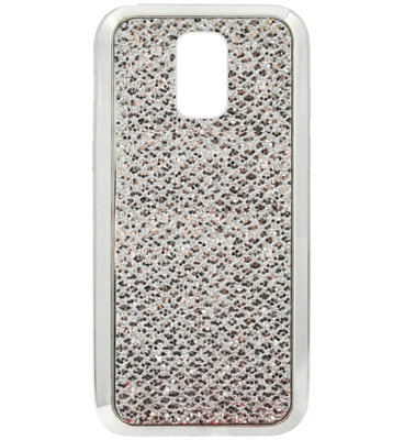 ADEL Siliconen Back Cover Softcase Hoesje voor Samsung Galaxy S5 (Plus)/ S5 Neo - Bling Bling Glitter Zilver