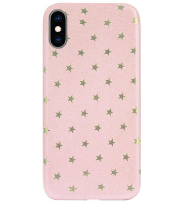 ADEL Siliconen Back Cover Softcase Hoesje voor iPhone XS/ X - Sterren Roze Bling Bling Glitter