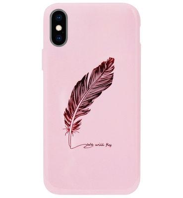 ADEL Siliconen Back Cover Softcase Hoesje voor iPhone XS/ X - Veren Roze Bling Bling Glitter