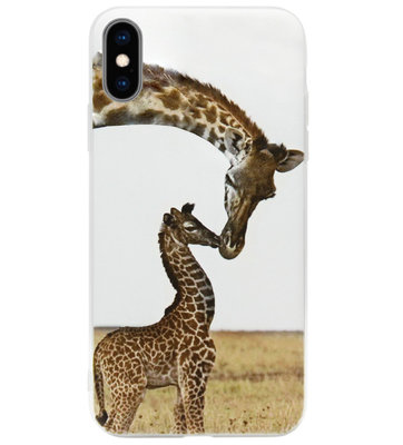 ADEL Siliconen Back Cover Softcase Hoesje voor iPhone XS/ X - Giraffe Familie